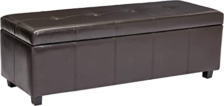 Red Hook Meknes Rectangular Faux Leather Storage Ottoman Bench - Dark Cocoa
