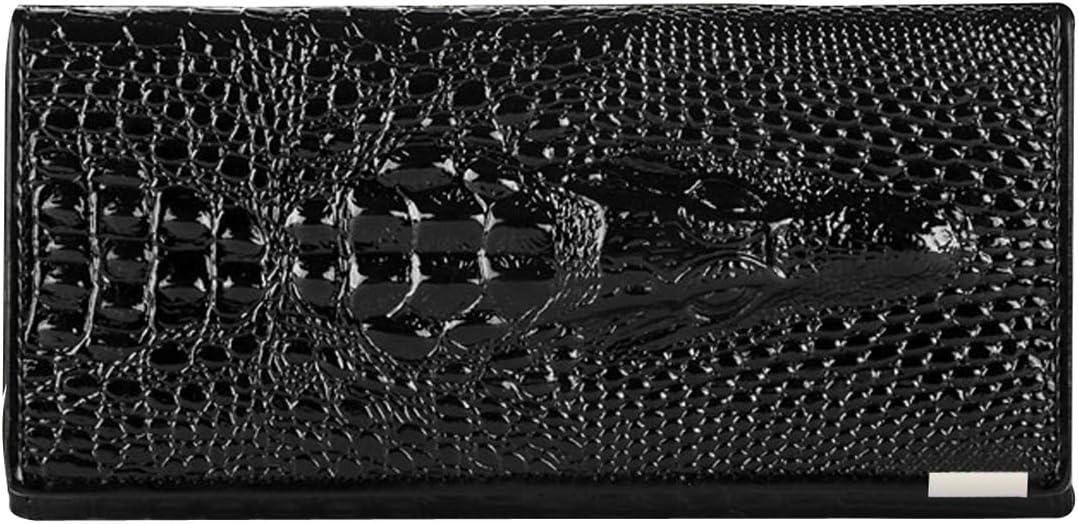 Rebecca Men Women Embossed Crocodile Pattern Clutch Wallet Cowhide Leather Long Card Holder Purse (Black)