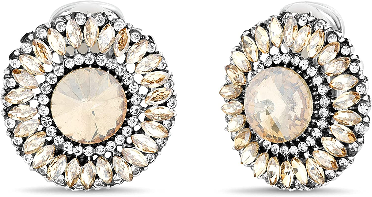Badgley Mischka Antiqued Finish Round Champagne Rhinestone Clip On Earrings for Women