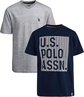 U.S. Polo Assn. Boys' T-Shirt - 2 Pack Short Sleeve Fashion Solid and Graphic Tee (Big Boys), Grey/Navy, 8
