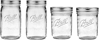 Ball Mason Wide Mouth Jars with Lids and Bands, Set of 4 Jars, Two 32oz Jars + Two 16oz Jars (Bundle Pack)