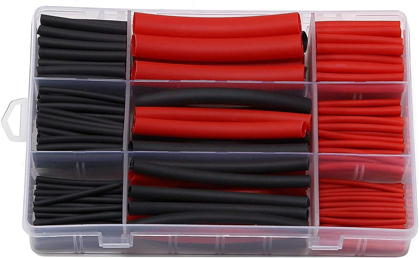 300Pcs Kit de Tubo Termorretráctil, 3: 1 Tubo Termorretráctil Forrado con Adhesivo de Doble pared con 5 Tamaños, 2 Colores (Negro, Rojo)