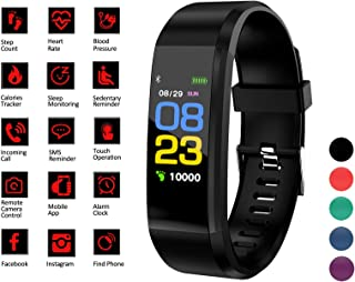 Smart Watch Fitness Tracker Band - Activity & Sleep Monitor for Men Women Kids, Blood Pressure & Heart Rate Monitor, Pedometer, Calorie Counter - Waterproof Wristband w/Android & iPhone App