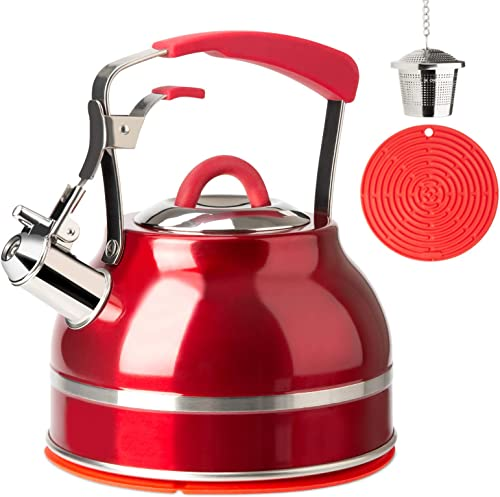 wholesale Secura Whistling Tea Kettle, 2.3 Qt Tea Pot, Stainless Steel Hot Water high quality Kettle for Stovetops with Silicone Handle, Tea Infuser, Silicone online sale Trivets Mat, Red online sale
