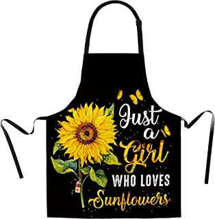 Sunflower Apron for Women with Adjustable Neck Strap Beautiful Art Kitchen Apron Cooking Chef Apron for Grill, Kitchen, Ba...