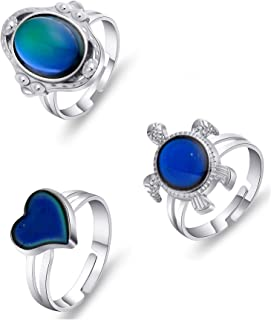 Thunaraz 3PCS Mood Ring for Girls Adjusable Size Color Changing Ring Set for Women Girl
