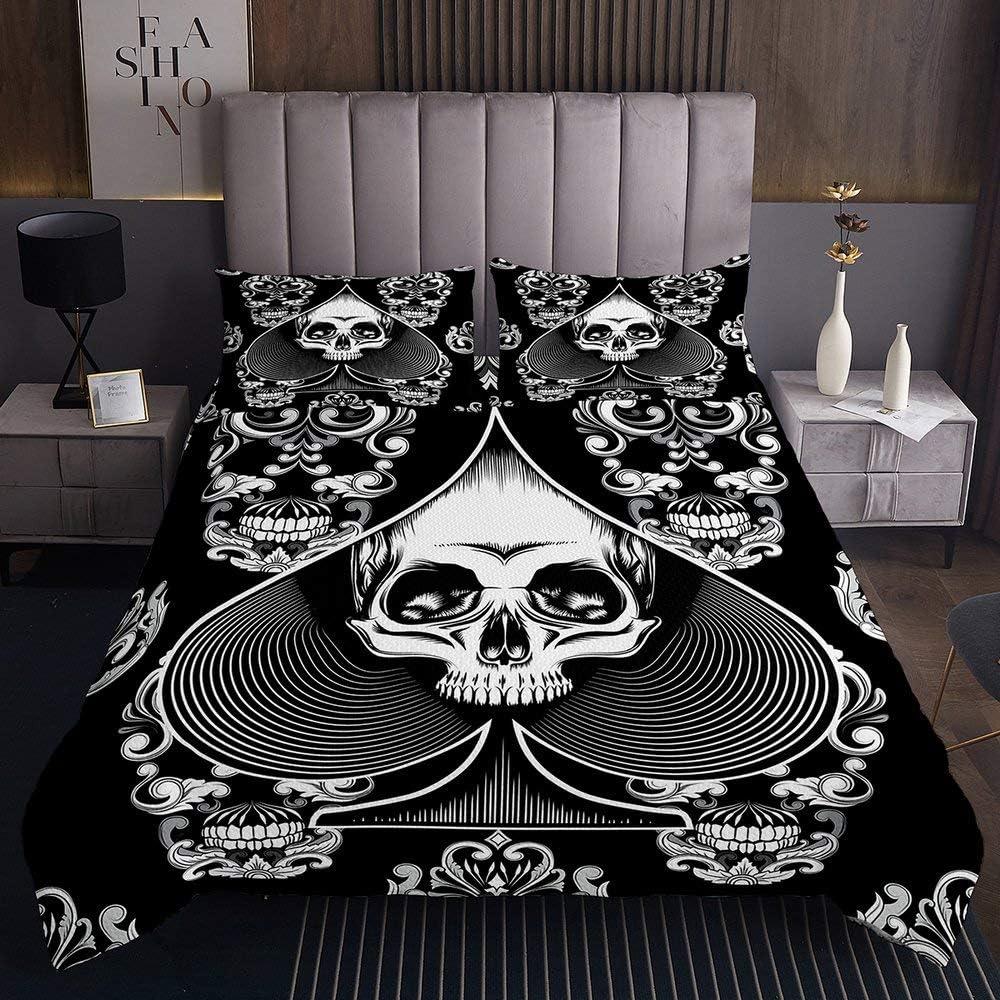 Erosebridal Skull Bedspread Gothic Spooky Twin Coverlet Manufacturer overseas regenerated product Siz Set