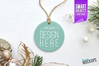 Round Porcelain Christmas Ornament with Twine Christmas Mockup Add Your Image with Smart Object Digital Download