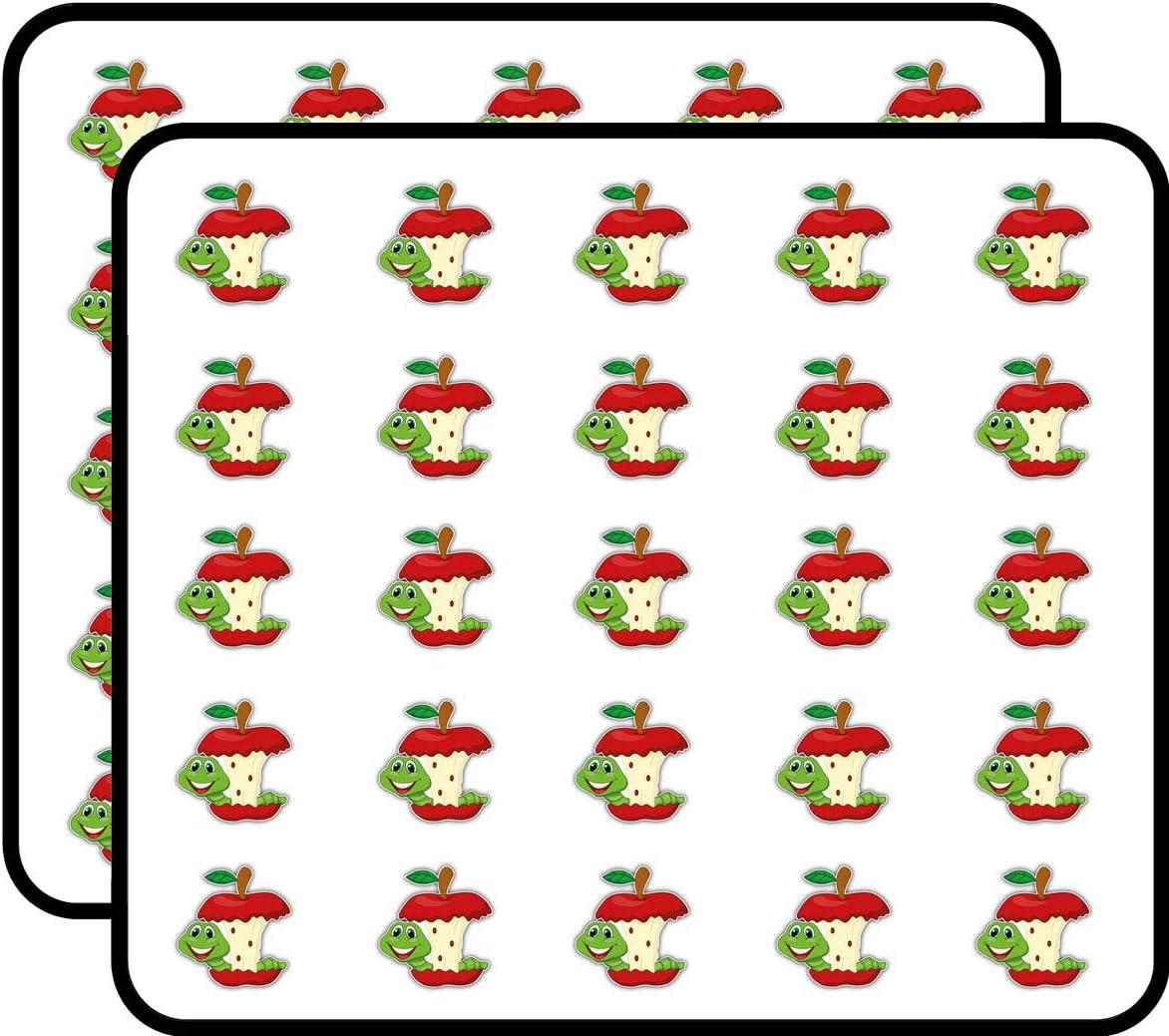 Worm Eating Apple Cartoon Art Decor Sticker for Scrapbooking, Calendars, Arts, Kids DIY Crafts, Album, Bullet Journals 50 Pack