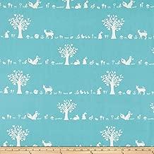 Birch Organic Fabrics Birch Organic Storyboek Drie Forest Friends Fabric, 1, Aqua, Fabric by the Yard