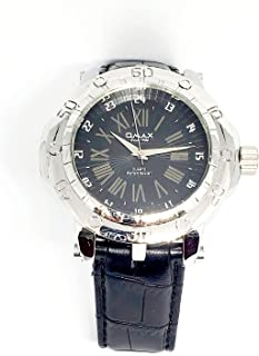 ساعة يد للرجال من اوماكس - رياضية، متعددة الألوان، مينا سوداء - سوار من الجلد - مقاومة للماء - Beeb1220