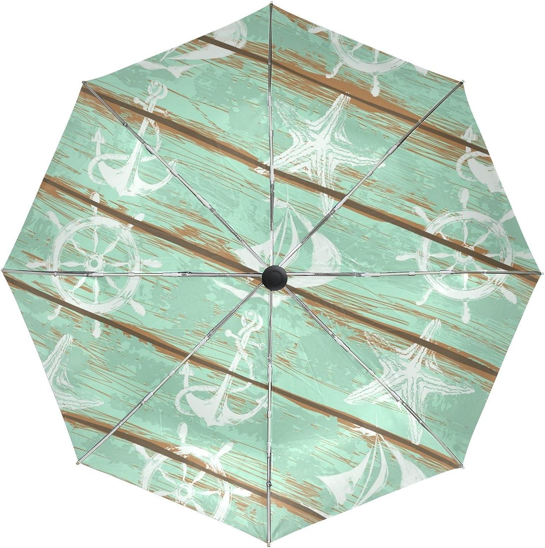 MASSIKOA Rustic Wooden Nautical Anchor Windproof Foldable Rain Travel Canopy Umbrella Auto Open Close Button