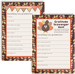 """I Am Grateful For"" Gratitude Scavenger Hunt Thanksgiving Fill In Game Cards, Ten 5"
