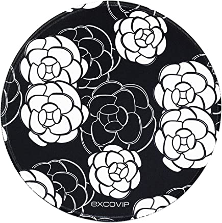 excovip Camellia Flower- EXCO Designed Round Flat Mouse Pad(9.8 Inch x 9.8 Inch),Office PC mats with Stitched Edge …