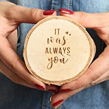 Koyal Wholesale Engraved Wedding Ring Box, Real Wood Engagement Ring Box, Wedding Ring Bearer, Wedding Box for Rings, Rustic Ring Box, Proposal Box (It was Always You, Birch)