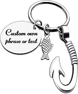 Kooer Fishing Hook Keychain Fishing Lure Hook Key Chain Personalized Fishhook Keyring Fishman for Father Dad Grandpa Grandfather