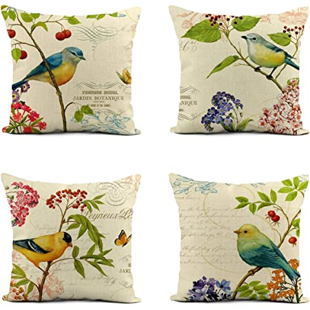 Fukeen Set Of 4 Vintage Birds On Branch Decorative Pillow Case Rustic Style Cotton Linen Throw Cushion Covers Spring Farmhouse Office Decor Believe Hope Words Pillow Protectors Square 18 X18 Home