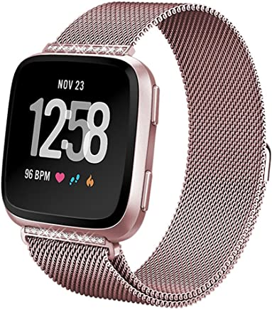hooroor Bling Bands for Fitbit Versa Women Men, Milanese Loop Stainless Steel Sport Replacement Rhinestone