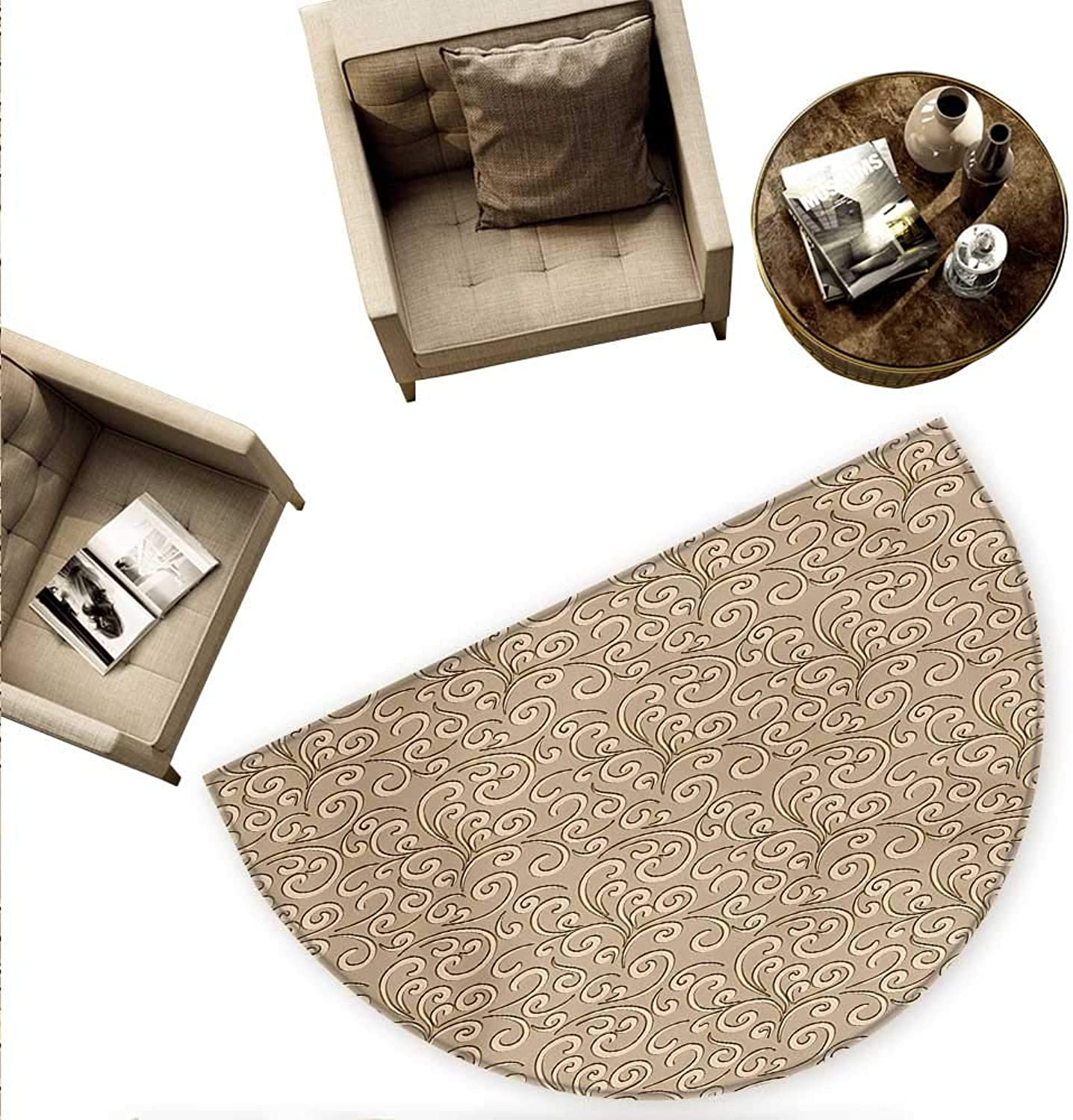 Beige Semicircular Cushion Floral Swirls Damask Pattern Classic Victorian Style in Retro Antique Background Entry Door Mat H 59  xD 88.6  French Beige