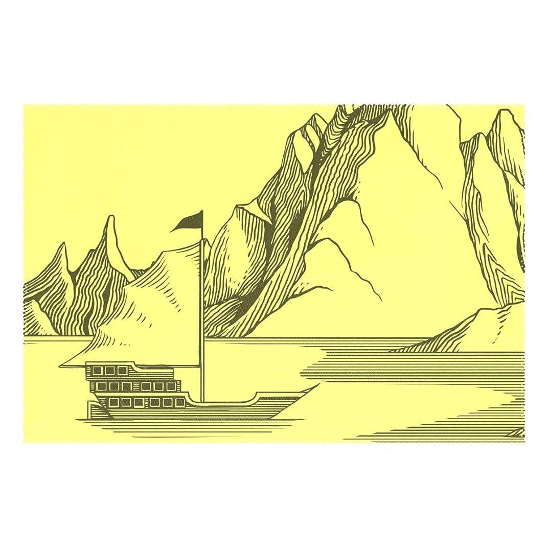草それに応じて遠征ランチョンマット やま 船 イエロー 1枚セット 義務用 断熱 撥水 防汚 速乾 水洗いOK 耐久性 シワに対する 家庭用 シンプル 便利 お手入れ 便利