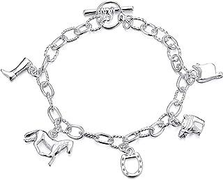 TOOGOO(R) forma di cavallo argentato Bracciale Design contemporaneo di design di moda Per Fidanzata
