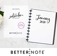 BetterNote 2020 Monthly Calendar for Disc-Bound Planners, Fits 11-Disc, Levenger Circa, Arc Staples, TUL Office Depot, Letter Size 8.5
