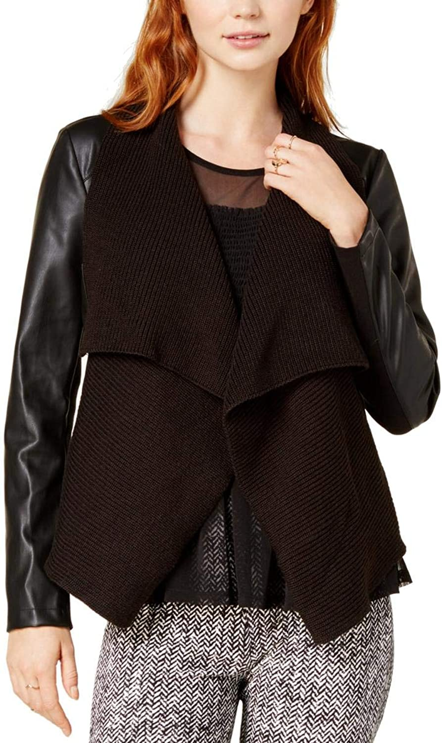 Bar III Womens Fall Faux Leather Motorcycle Jacket