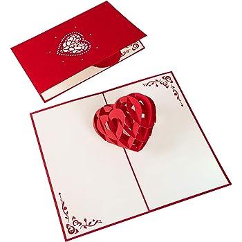 PaperCrush® Pop-Up Karte 3D Herz - Romantische Geburtstagskarte oder Weihnachtskarte für Sie und Ihn, Besondere Liebeskarte zu Weihnachten, Geburtstag oder Hochzeitstag für Frauen und Männer