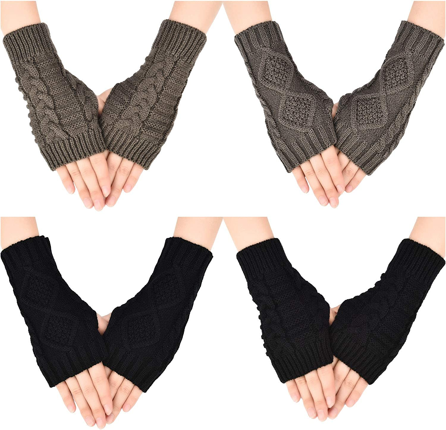 Tatuo 4 Pairs Women's Fingerless Gloves Stretchy Knitted Gloves Thumb Hole Mittens Crochet Wrist Length Warmers