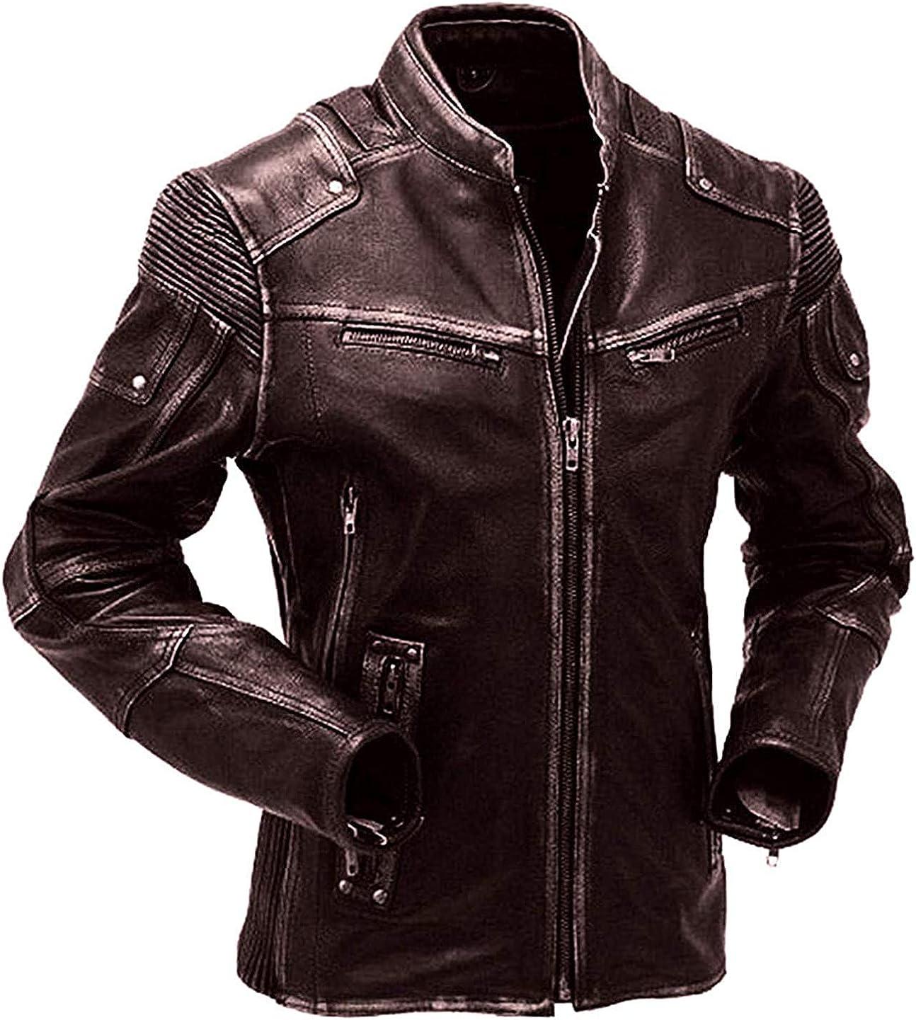 Cafe Racer Vintage Biker Distressed Motorcycle Black Leather Jacket Men