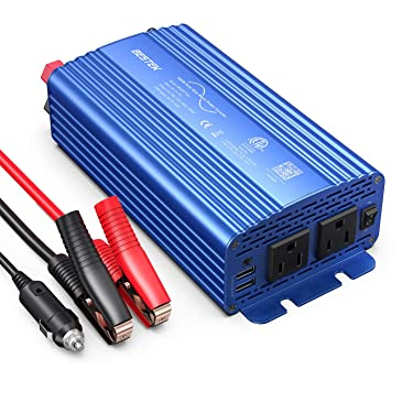 BESTEK 500W Pure Sine Wave Power Inverter DC 12V to 110V AC Car Plug Inverter Adapter Power Converter with 4.2A Dual USB Charging Ports and 2 AC Outlets Car Charger, ETL Listed, Blue