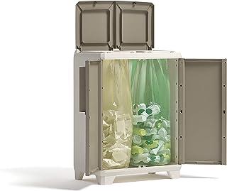 Keter 9735200 Split Cabinet Recycling Premium Wood Boîte de Rangement avec Couvercle pour la Récupération Différentes Plas...