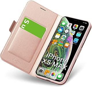 iphone xs max ケース 手帳型 薄型 スマホカバー PUレザー 全面保護 耐衝撃 カード収納 マグネット付き ワイヤレス充電対応 スタンド機能 シンプル おしゃれ (iphone xs max ケース ローズゴールド)