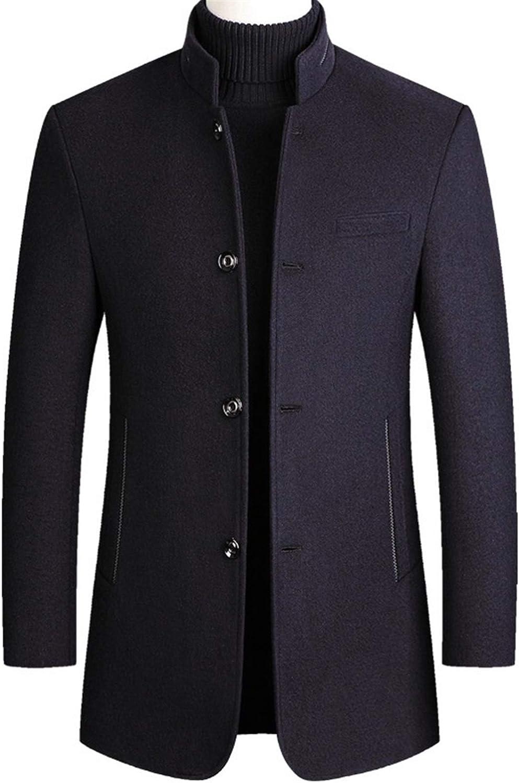 DANGAO Autumn Winter Mens Cashmere Coat Cotton Thick Cashmere Coat Large Size Casual Long Blend Coat Long Sleeve (Color : Navy, Size : 170 M)