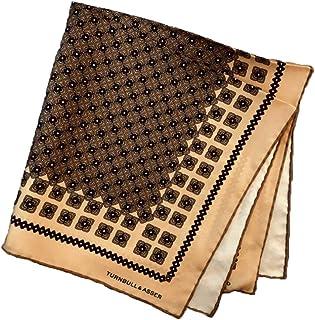 ポケットチーフ シルクチーフ メンズ 紳士 英国製 Silk ターンブル&アッサー Turnbull&Asser 大判 ツイル Paisley Green/Navy Size45x45cm C020
