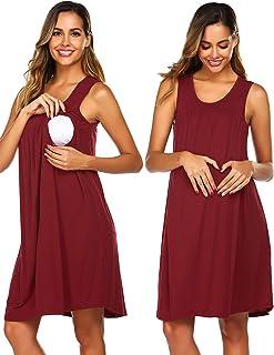 Ekouaer Women's Maternity Dress Hospital Nursing Nightgown Breastfeeding Nightshirt Sleepwear S-XXL