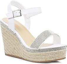 Verniciato bianco sandali con tacco di 7,5 cm cinturino alla caviglia ChaussMoi