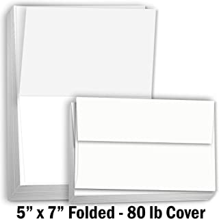 Hamilco Card Stock Folded Blank Cards with Envelopes 5x7 - Scored White Cardstock Paper 80lb Cover - 100 Pack