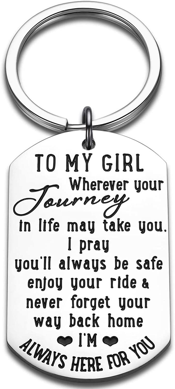 To My Daughter Keychain 16 18 Birthday Christmas Inspirational Gifts For Little Girls From Mom Dad Graduation Anniversary Valentine Day Gifs for Step Daughter Women Teen Girls Kids