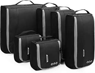 BAGSMART 6-Piece Set Vertical Travel Packing Cubes bags Straight Packing accessories Organizer with framed design Clear Carry on luggage cubes, 3 Sizes Small/Medium/Large