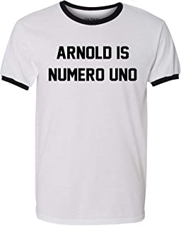 Arnold is Numero Uno T Shirt Pumping Iron Movie Bodybuilding Muscle Gym Workout Ringer Tee
