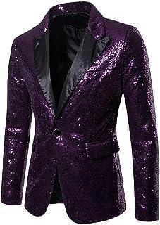 Kobay Top Coat for Men,Charm Men's Casual One Button Fit Suit Blazer Jacket Sequin Party Top