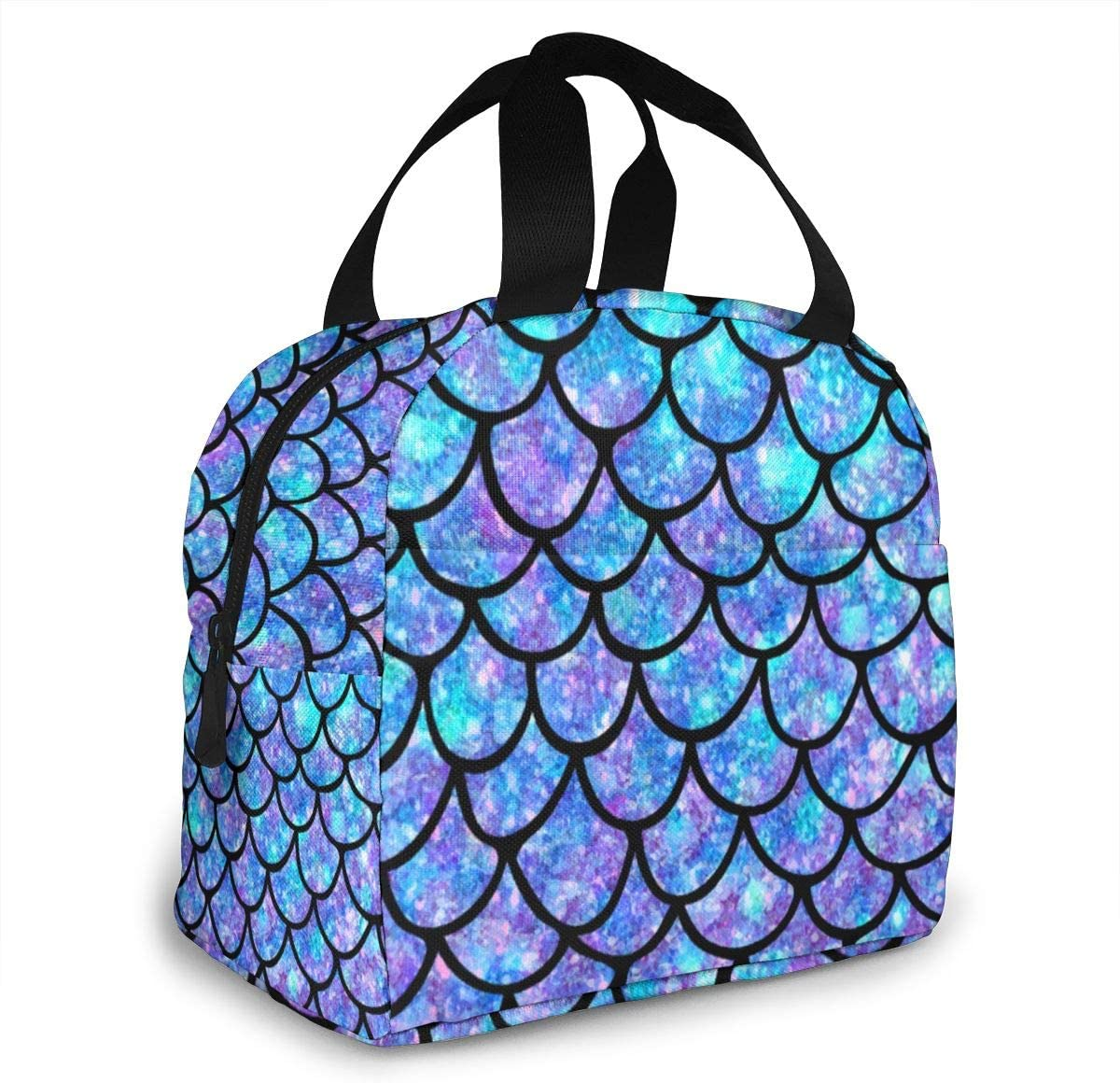 70% OFF Outlet Mermaid Scale Seattle Mall Insulated Lunch Bag Cooler Tote Pocket With Front