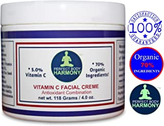 Vitamin C Cream For Face; Anti Aging Facial Creme Moisturizer With 70% Organic Ingredients with Nutrients; Reduce Appearance of Wrinkles; SULFATE & PARABEN FREE; No Animal Testing; 4.0 Ounce Jar