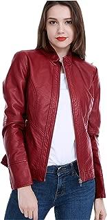 Women's Faux Leather Jackets Long Sleeve Zipper Short Moto Biker Jacket Bomber Coat
