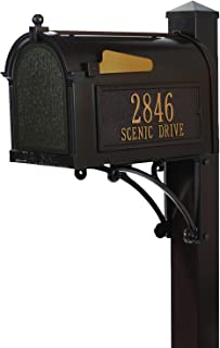 Whitehall Custom Premium Capitol Mailbox and Side Mount Post Package - Sand Cast Aluminum - French Bronze Personalized in Goldtone