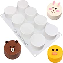 UG LAND INDIA 8 Cavity Cylinder Dessert Silicone Mold Baking Mold for Making Chocolate, Cake, Jelly, Dome Mousse Mold