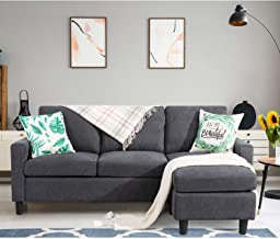 Shintenchi Convertible Sectional Sofa Couch, Modern Linen Fabric L-Shaped Couch 3-Seat Sofa Sectional with Reversible Chai...