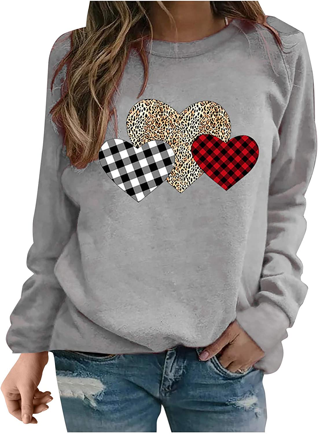 Womens Casual Tops Long Sleeve, Hearts Leopard Crew Neck Cotton Blouses Sexy 202 Love Tees Shirts 3XL Gifts