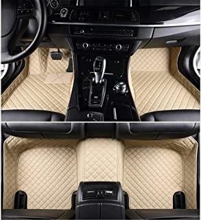 Jiahe Car Floor Mats for Jeep Wrangler 2018 4-Doors (Has Air Conditioner Port and no Cup Holder Hole Behind The Armrest Box) Full Covered Leather Carpet Auto All Weather Protection Set Beige